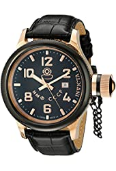 Invicta Men's 12426 Russian Diver Gold Ion-Plated Stainless Steel and Black Leather Watch
