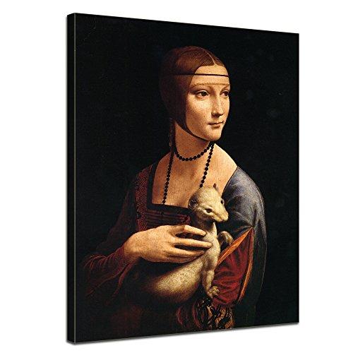 """Bilderdepot24 Leinwandbild Leonardo da Vinci - Alte Meister """"Die Dame mit dem Hermelin"""" 50x70cm - fertig gerahmt, direkt vom Hersteller"""