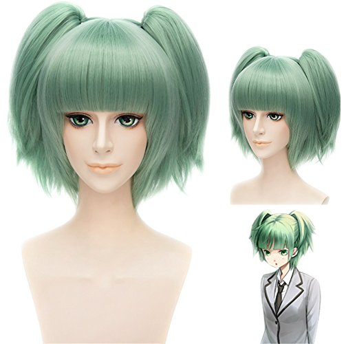 MSHUI Assassination Classroom Kayano Kaede Ponytail Green Hair Anime Cosplay Wig