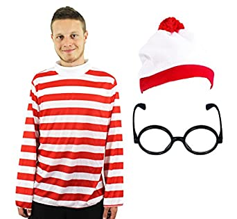 FIND ME' FUNNY MAN MENS LADIES LONG SLEEVE RED & WHITE STRIPE TOP + RED WHITE BOBBLE HAT + BLACK NERD GLASSES FANCY DRESS COSTUME SET 'SEARCH FOR ME' S-XXXL (SMALL)