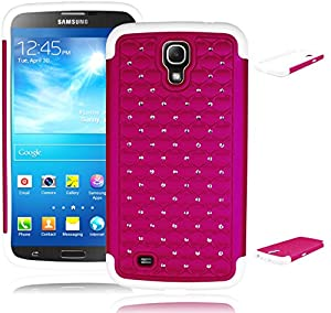 Bastex Heavy Duty Hybrid Case for Samsung Galaxy Mega 6.3 i527 - White Silicone Gel Cover with Hot Pink Weaved Crystal Patterned Shell