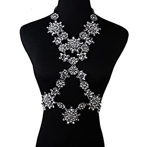Holylove® Stuning White Snow Flower Crystal Body Jewelry Statement Necklace-with Color Box