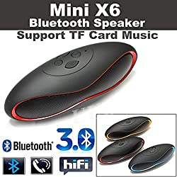 Link Plus MINI Bluetooth Multimedia Speaker System with FM / Pen Drive / SD Card Assorted Color- Rugby Mini X6 For Samsung Galaxy J7 2016 Edition