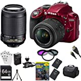 Nikon D3300 24.2 MP CMOS Digital SLR with AF-S DX NIKKOR 18-55mm f/3.5-5.6G VR II Zoom Lens and Nikon 55-200mm f/4-5.6G ED IF AF-S DX VR Nikkor Zoom Lens (Red) BUNDLE with 64GB High Speed SDXC Card, 2 Spare Batteries, Guide to SLR DVD Tutorial+MORE