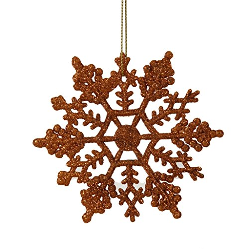 Vickerman 21452 – 4″ Burnished Orange Glitter Snowflake Christmas Tree Ornament (24 pack) (M101418)