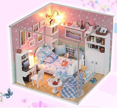 Big Dollhouse Miniature Diy Wood Frame Kit With Light Model Sweet Promise Gift Ldollhouse45-D94