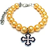 Pearl Pet Necklace with Cross Charm (Gold-M)