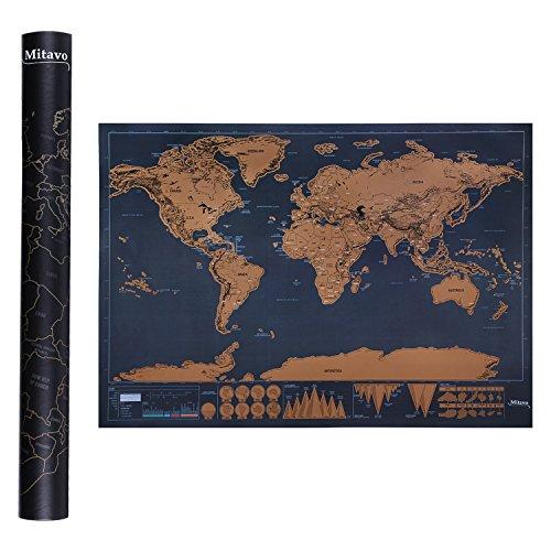 Mitavo Premium Scratch off Map mit Scratcher ! Rubbelkarte, Rubbel Weltkarte für Jung und Erwachsene, die Rubbel Landkarte in stabiler AufbewahrungsTube / Geschenkrolle Scratch off World Map