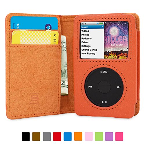 snugg-ipod-classic-case-flip-cover-lifetime-guarantee-orange-leather-for-apple-ipod-classic