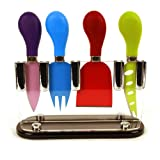 4 Piece Cheese Knife Set with Stand- High Grade Sheffield Steel / Non Stick