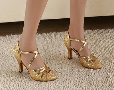 "Abby Q-6134 Womens Litin Shoes Ballroom Dance 2.4''/3.3"" Flared Heel Shoes"