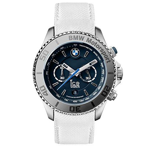 Ice-Watch BM.CH.WDB.BB.L.14 uomo Big Big BMW Motorsport, in acciaio, colore: bianco con fascia in pelle, quadrante blu scuro