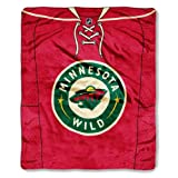 NHL Minnesota Wild Jersey Royal Plush Raschel Throw Blanket, 50x60-Inch