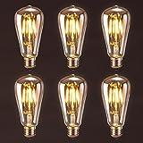 Antique LED Bulb, Oak Leaf 4w ST64 Vintage Edison Dimmable Light Bulb LED Lighting Soft White 2700K pack of 6