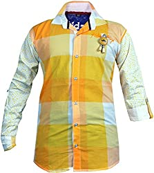 CAY 100% Cotton Yellow Color Checks Shirt (Size:S)