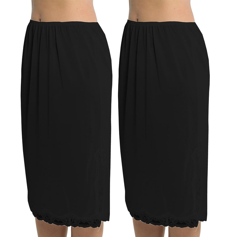 2 Pack Womens Damen Unterrock Slip mit Lace Trim 100 % Polyester resistentes Cling, 27 Zoll Länge (68cms), verschiedene Farben & Größen jetzt kaufen