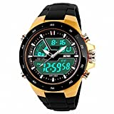Mens Unusual Military Casual Analog Quartz Dual Time Zone Digital Waterproof Black PU Resin Band Watch with Alarm EL Back Light Classic Design Calendar Date Window - Gold