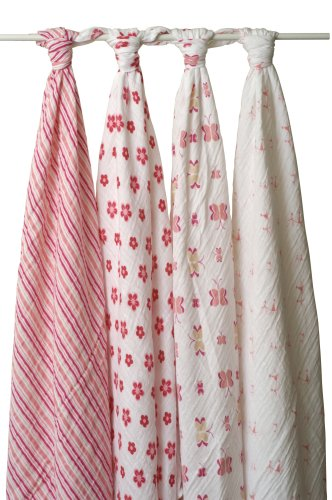 aden + anais Classic Muslin Swaddle Blanket 4 Pack, Pink and White (Discontinued by Manufacturer)