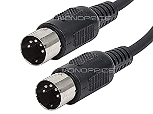 Monoprice MIDI Cable with 5 Pin DIN Plugs, 10-Feet, Black (108533)