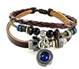 Blue Bead Three Strand Brown Leather Zen Bracelet, Adjustable for Men and Women, in Gift Box