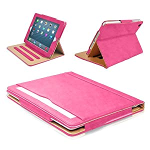 MOFRED® Pink & Tan Apple iPad Air (Launched 2013) Leather Case-MOFRED®- Executive Multi Function Leather Standby Case for Apple iPad Air with Built-in magnet for Sleep & Awake Feature
