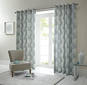 Forest Trees Duck Egg Blue White 66x72 Ring Top Lined Curtains #seertdnaldoow *cur* by Curtains