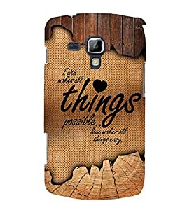 Love Makes All Things Easy 3D Hard Polycarbonate Designer Back Case Cover for Samsung Galaxy S Duos S7562