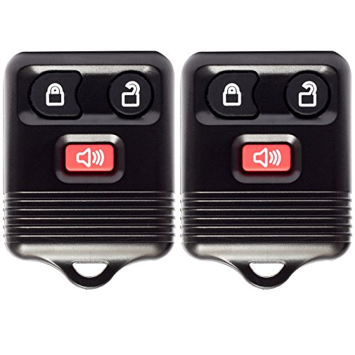 OxGord Keyless Entry - 2 Pair Remote Control Shells with Chips, Batteries & Case Cover - Option for Ford 3 Button Alarm, Lock, and Unlock Key Fob Clicker Transmitter (Ford Escape 2014 Key compare prices)