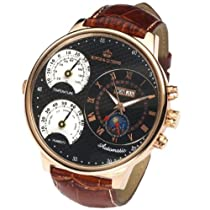 Kings & Queens 4006 Automatic Big Face Mechanical Watch for Men Brown Strap C...