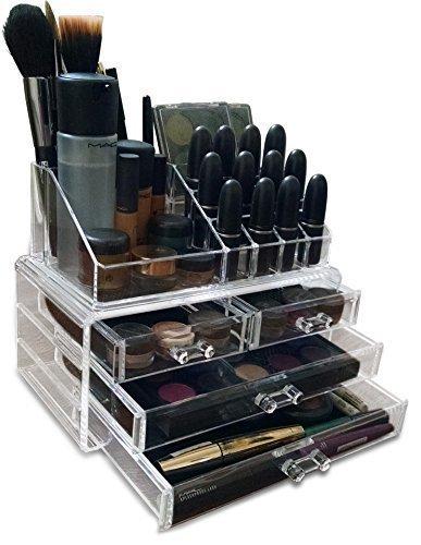 Oi Labels - Espositore organizer per make-up, cosmetici, gioielli, smalti per unghie, in acrilico trasparente extra resistente, spessore 3 mm. Regalo confezionato.