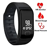 Fitness Tracker Band Smart Bracelet with Oxygen Blood Pressure/Heart Rate/Sleep Monitor Notification Alerts Bluetooth Waterproof Sports Activity Watch OLED Touch Screen for Android and iOS Phone