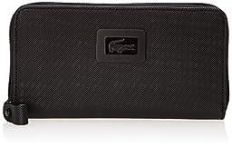 Lacoste Women\'s Classic Large Zip Wallet, Black, One Size