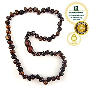 Baltic Amber Teething Necklace - Genuine Amber Necklaces for Baby - Natural Teether Relief for Boys and Girls - Lemon, Honey, Cognac and Multicoloured - Hand Knotted Beads with Screw Clasp -100% Satisfaction Guaranteed! Delivered and Fulfilled through Amazon Warehouses. (Black Cherry)