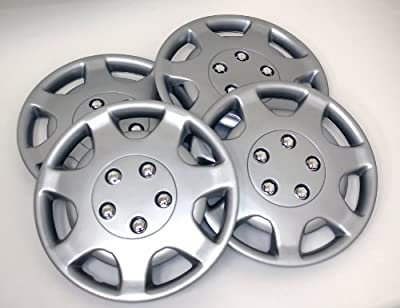 TuningPros WSC-107S14 Hubcaps Wheel Skin Cover 14-Inches Silver Set of 4