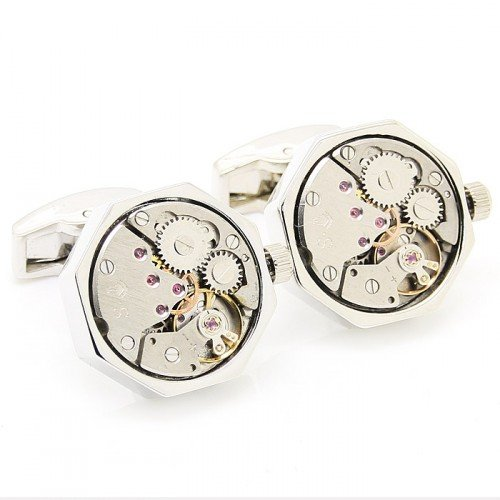 blank cufflinks Silver Octagon Watch Movement Cufflinks