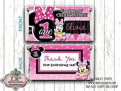 10 Pink and Black BABY MINNIE MOUSE Custom Birthday Mini Hershey Candy Bar Wrappers (Minnie Mouse Custom Invitations compare prices)