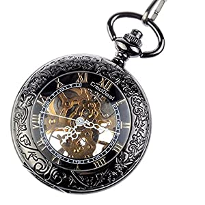 [NEW UPGRADED] CredDeal Steampunk Pocket Watch Pendant Roman Number Half Hunter-Antiqued Silver Black With Gift Box and Chain PW039