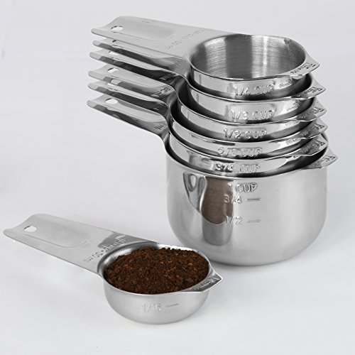1Easylife Upgraded 18/8 Stainless Steel Measuring Cups, Set of 7 (Including Perfect 1/8 Cup Coffee Scoop) Nesting Cups with Engraved Measurement and Spout (Coffee Cup Metal Bottom compare prices)