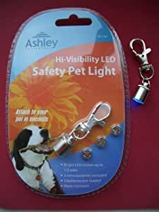 Hi-Visibility LED Dog Collar / Pet Safety Light Tag with Spare Batteries