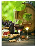 Wine Picture -- Wine Decor Wall Art with LED Lights -- Canvas Print -- Wine Glasses and Wine Bottle Pictured with Grapes, Bread, Cheese, Nuts and Olives - 16x12 Inch
