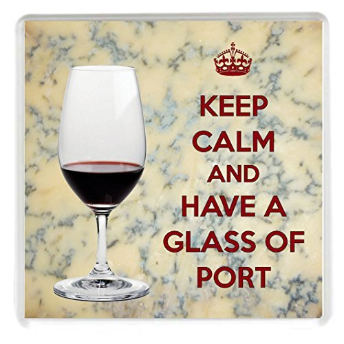 KEEP CALM and HAVE A GLASS OF PORT Drinks Coaster printed on an image of a Glass of Port with a Stilton Cheese background. A unique gift for an Port and Stilton Lover. by Yummy Grandmummy (Keep Calm And Make Cheese compare prices)