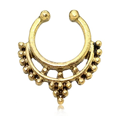 Fake falso Setto Segmento Septum Anello Labbra Clicker Clip Orecchini Naso Helix Piercing Colore Oro Silver Rose , colore:oro
