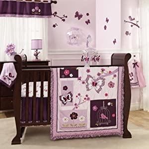 Lambs & Ivy Plumberry 5 Piece Bedding Set, Plum, Pink, White