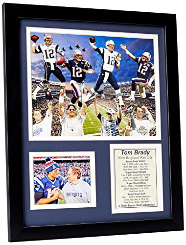 NFL New England Patriots Legends Never Die Framed Photo Collage, 2014 Super Bowl XLIX Champions Tom Brady 4-Time Champ Tribute, 11 x 14-Inch (Xlix Seahawks Champions compare prices)