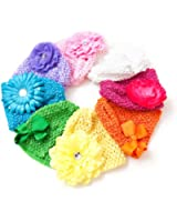 Ema Jane - Crochet Baby Beanie Waffle Hats with & Hair Accessories 16 Pack (8 Hats + 8 Hair Accessories)