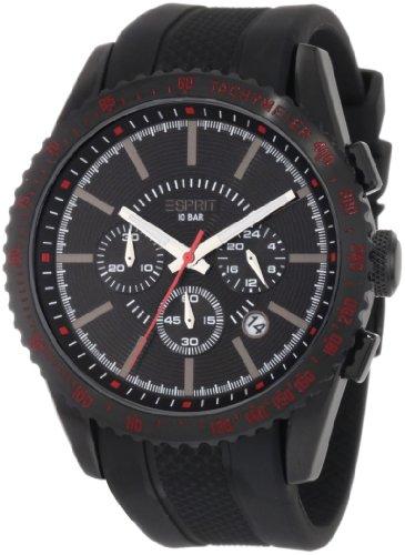 Esprit ES104031003 - Reloj cronógrafo de cuarzo para hombre con correa de caucho, color negro
