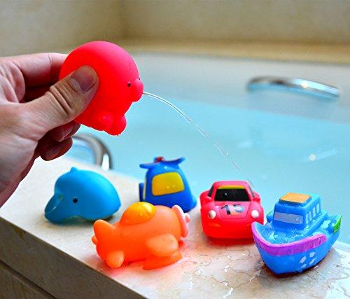 Set Organizador De Baño: doce 3,5 Squirter Squeaker goma baño juguete Set con organizador