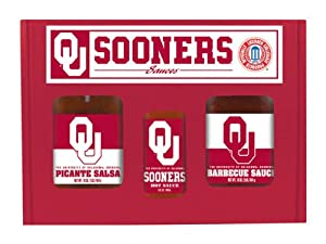 Oklahoma Sooners Ncaa Tailgate Kit 5oz Hot Sauce 16oz Bbq Sauce 16oz Picante Salsa from Hot Sauce Harrys