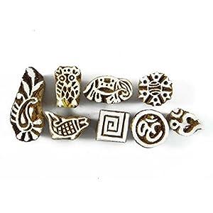Lot de 8 Pcs Indien Sculpté à la main Impression Textile bloc en bois Stamp Bloquer Imprimer