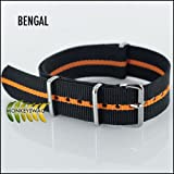 G10 NATO WATCH STRAP BENGAL Black & Orange Stripe